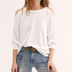 NEW Free People Chill Out Long Sleeve Tee White XS